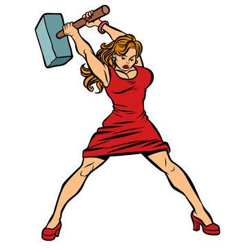 woman blacksmith in dress, big hammer in hand