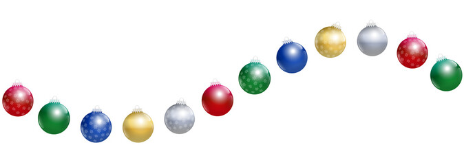 Christmas balls. Golden, silver, red, green and blue glossy christmas tree balls with snowflake ornaments forming a wave. Isolated vector illustration on white background.
