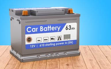 Car Battery on the wooden desk. 3D rendering