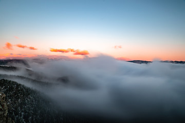Fog Waves above the Boulder Canyon, Boulder, CO, USA
