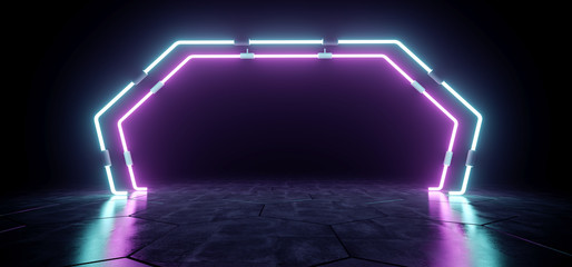 Dark Modern Futuristic Alien Reflective Empty Room With Purple And Blue Neon Glowing Light Tubes Background Grunge Concrete Floor 3D Rendering