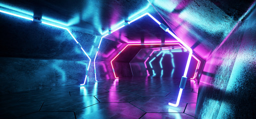 Dark Modern Futuristic Alien Reflective Grunge Concrete Corridor Tunnel Empty Room With Purple And Blue Neon Glowing Light Tubes Background Hexagon Floor 3D Rendering