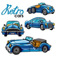 retro cars bright set