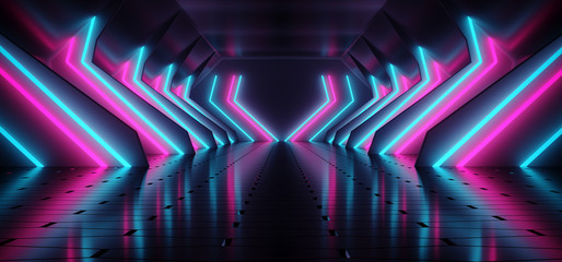 Dark Modern Futuristic Alien Reflective Concrete Corridor Tunnel Empty Room With Purple And Blue Neon Glowing Lights Background 3D Rendering