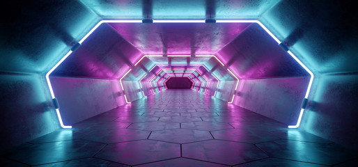 Bright Modern Futuristic Alien Reflective Concrete Corridor Tunnel Empty Room With Purple And Blue Neon Glowing Lights Hexagon Floor Background 3D Rendering