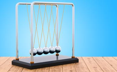 Pendulum, Newton's cradle on the wooden table, 3D rendering