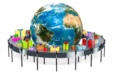 Worldwide gift delivery concept. Gift boxes on conveyor belt around the Earth. 3D rendering