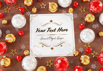 Holiday Card On Wooden Table With Ornaments Mockup