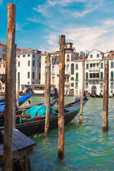 Beautiful view of the gondolas and the Grand Canal, Venice, Italy
