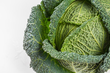 Fresh whole raw green savoy cabbage vegetable