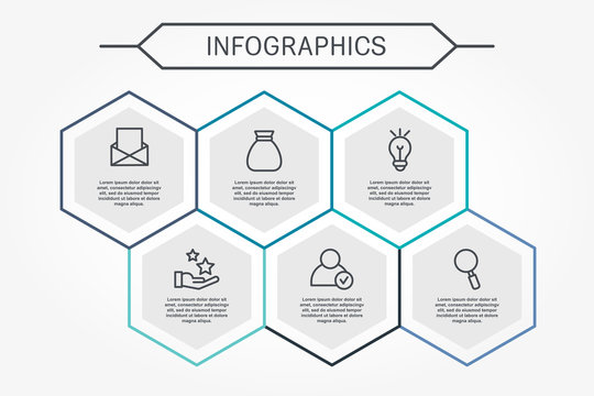 Modern vector illustration 3D. Infographic template with six hexagon elements. Designed for business, presentations, web design, diagrams with 6 steps for workflow layout, annual report