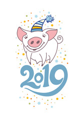 Cute card with a nice little pig in hat. 2019. Christmas decor confetti. Vector New Year's design.