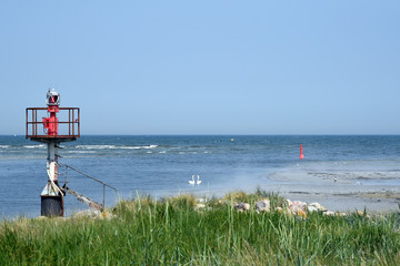 Entrance to the emergency harbor Darsser Ort on the German Baltic Sea