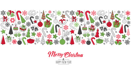 Greeting card Merry Christmas background. Vector illustration with Christmas elements snowflakes, trees, stars, Candy Cane, gifts.