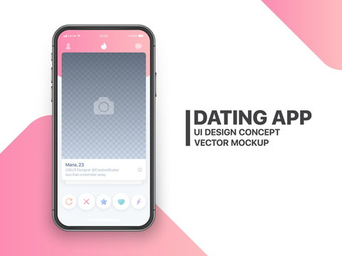 Mobile Dating App Tinder UI and UX Alternative Trendy Concept Vector Mockup in Light Color Theme on Frameless Smart Phone Screen Isolated on White Background. Social Network Design Template