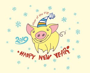Cute greeting card with a pretty yellow pig. 2019. Christmas decor Snowflakes. Happy New Year! Vector New Year's design.