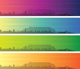 Cape Town Multiple Color Gradient Skyline Banner
