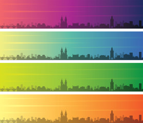 Prague Multiple Color Gradient Skyline Banner