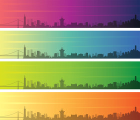 San Francisco Multiple Color Gradient Skyline Banner