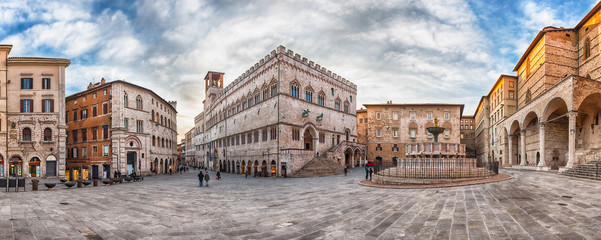 Panoramic view of Piazza IV Novembre, Perugia, Italy Wall mural