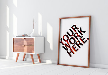 Wooden Framed Poster with Contemporary Furniture Mockup