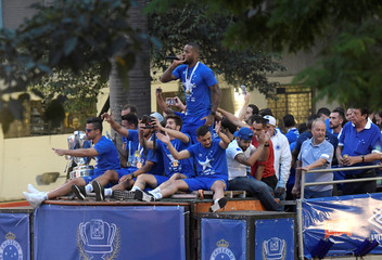 Cruzeiro soccer team players celebrate after winning the Copa do Brasil title, in Belo Horizonte