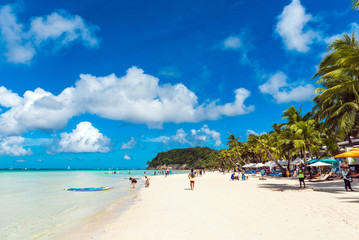 View of the sandy beach, Boracay, Philippines. Copy space for text.