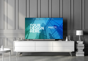 Smart TV on a White Console Mockup