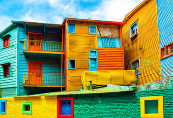 Printed kitchen splashbacks Buenos Aires La Boca, view of the colorful building in the city center, Buenos Aires, Argentina.