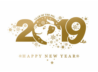 Year of the Pig 2019. Golden pattern with snowflakes. Happy New Year! Vector template New Year's design on the Chinese calendar.