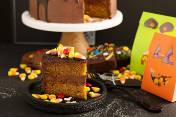 Chocolate and candy corn cake