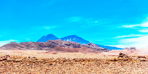 Landscape in Atacama desert, Chile. Copy space for text.