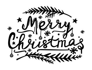 Merry Christmas hand lettering. Doodle style illustration with Xmas symbols. Modern lettering for cards, posters, t-shirts, banners with hand drawn elements. Vector illustration