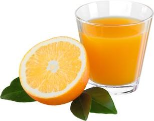 Fresh orange and glass of juice