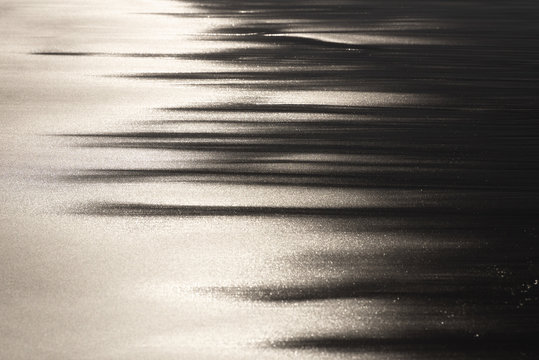 the play of light on wet sand in the evening light