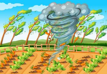 Tornado in farm scene