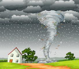 Destructive tornado landscape scene