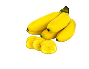 yellow ripe mini bananas isolated on white background. object, fruit