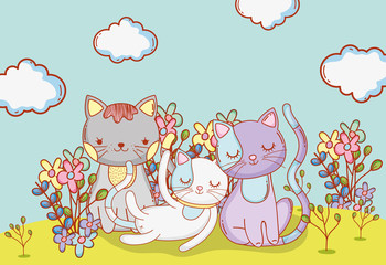 cute cats animals with clouds and flowers