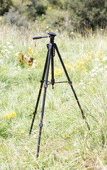 Tripod for the camera on a background of grass