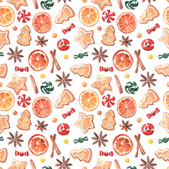 Seamless pattern made of elements for mulled wine, in watercolor style.
