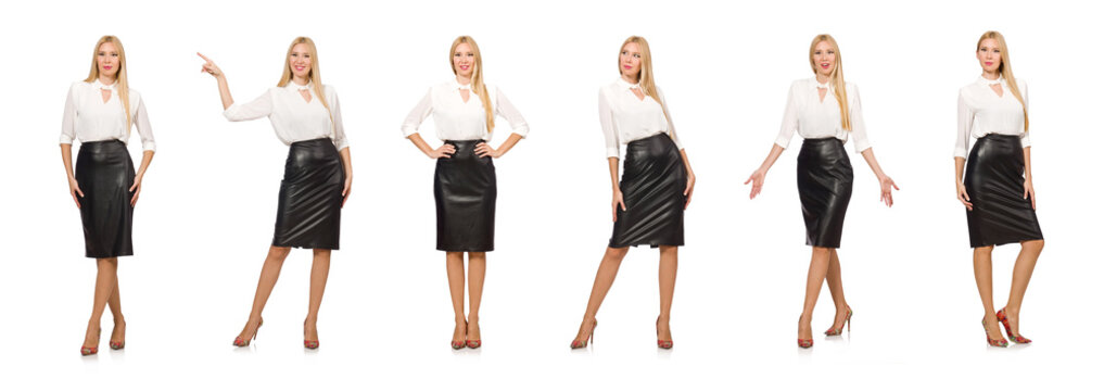 Pretty woman in leather skirt isolated on white