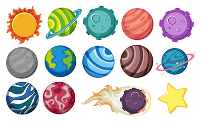 Set of planets and star