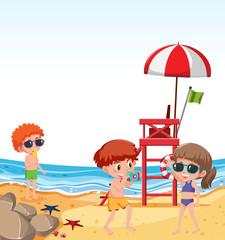 Children on beach holiday