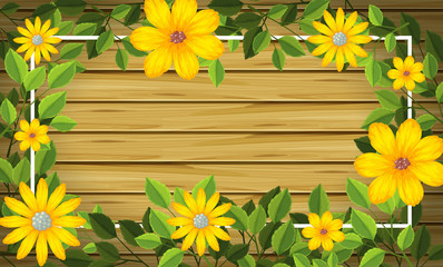 Yellow flower on wooden frame