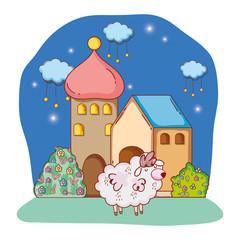 fluffy white sheep cartoon