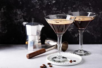 Espresso martini in two glasses