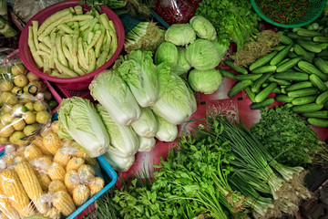 Close up image of various fresh vegetables at farmers market in bangkok, thailand