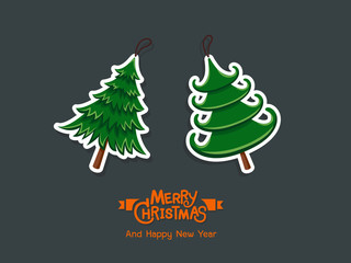 Christmas tree stickers. Merry Christmas and happy new year for decorative element on holiday, posters, gift tags and labels. Vector Illustration.