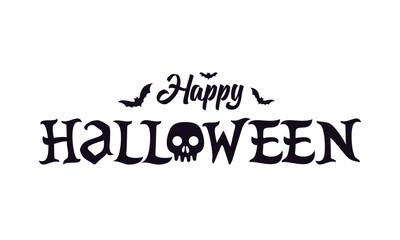 Happy halloween lettering text banner with skull and bats vector illustration